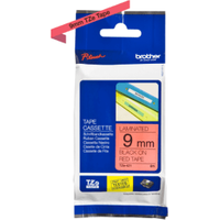 Brother TZE-421 Original P-Touch Black on Red Tape 9mm x 8m