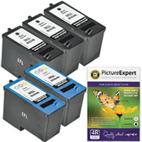 Dell M4640 / M4646 Compatible Black & Colour 5 Ink Cartridge Pack + Photo Paper