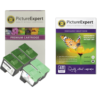 Dell T0529 x 3 / T0530 x 2 Compatible Black & Colour Ink Cartridge 5 Pack + Photo Paper