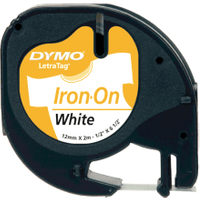 Dymo 18769 (S0718850) Original Black on White LetraTag Label Paper Tape 12mm x 2m