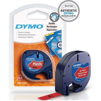 Dymo 91203 ( S0721630 ) Original Black on Red LetraTag Label Plastic Tape 12mm x 4m