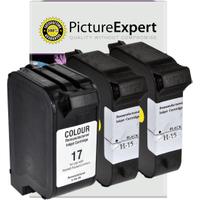 HP 15 / 17 ( C6615de / C6625ae ) Compatible Black x2 & Colour x1 Ink Cartridge 3 Pack