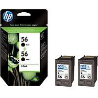HP 56 ( C9502ae ) Original Black Ink Cartridges Twinpack