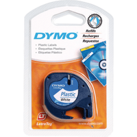 Original Dymo 91201 ,S0721610 Black on White LetraTag Label Plastic Tape 12mm x 4m
