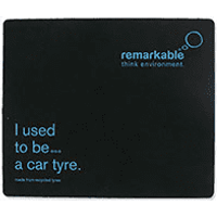 Remarkable Black/Blue Recycled Tyre Mouse Mat