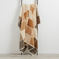 Thermosoft Latte Checked Blanket Medium Brown