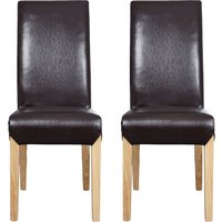 Dunelm Milan Leather Faced Pair of Dining Chairs Chocolate Brown