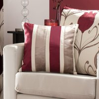 Lalique Wine Striped Cushion Dark Red