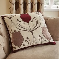 Lalique Wine Flower Cushion Dark Red
