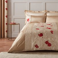 Juliet Embroidered Red Duvet Cover Red / Brown