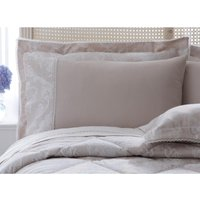 Dorma Aveline Natural Cuffed Pillowcase Light Brown / Natural