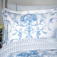 Dorma Toile Blue Oxford Pillowcase Blue / White
