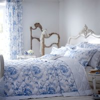 Dorma Toile Blue Quilted Throw Blue & White