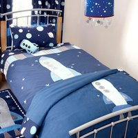 Space Mission Duvet Cover and Pillowcase Set Blue
