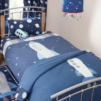 Space Mission Bedspread Blue
