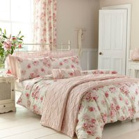 Annabella Pink Reversible Duvet Cover and Pillowcase Set Pink