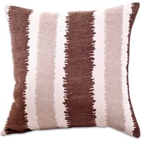 Large Chenille Striped Cushion Chocolate Brown