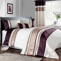 Manhattan Emboridered Plum Duvet Cover Cream / Purple