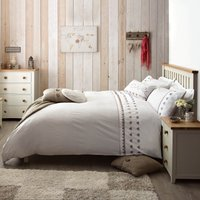 Gingham Hearts Emboridered Taupe Duvet Cover Cream