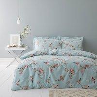 Beautiful Birds Duck-Egg Duvet Cover and Pillowcase Set Duck Egg Blue