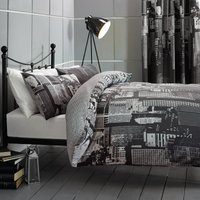City Scene Black Reversible Duvet Cover and Pillowcase Set Black / White