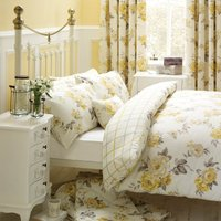 Windermere Lemon Reversible Duvet Cover and Pillowcase Set Lemon Yellow