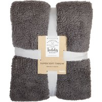 Teddy Bear Throw Dark Grey