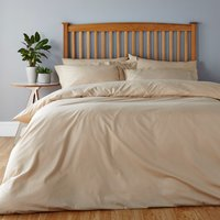 Easycare Plain Dye 100% Cotton Caramel Duvet Cover Biscuit (Brown)