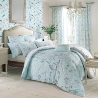 Dorma Maiya Emboridered 100% Cotton Duck-Egg Duvet Cover Duck Egg Blue