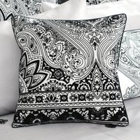 Deco Flock Grey Square Cushion Black / Silver