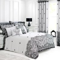 Deco Flock Embroidered Grey Duvet Cover Black / Silver