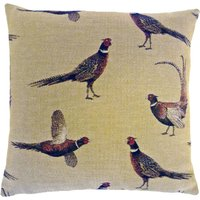 Pheasant Tapestry Cushion Light Brown / Natural
