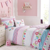 Songbird Single Duvet Cover and Pillowcase Set Pink