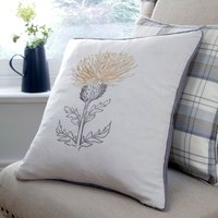 Balmoral Ochre Thistle Cushion Brown / Grey