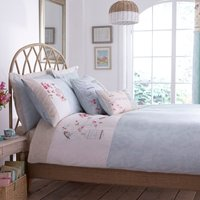 Evelyn Embroidered Duck-Egg Duvet Cover Duck Egg Blue