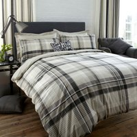 Salvage Check Grey Reversible Duvet Cover and Pillowcase Set Grey