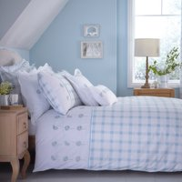 Daisy Emboridered Duck-Egg Duvet Cover Duck Egg Blue