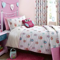 Pretty Owls Duvet Cover and Pillowcase Set Beige / Pink