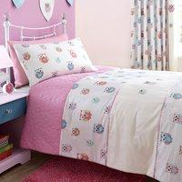 Pretty Owls Pink Bedspread Beige & Pink