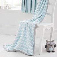 Little Owls Nursery Knitted Blanket Duck Egg Blue