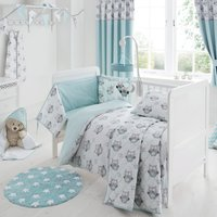 Little Owls Nursery Cot Bed Duvet Cover and Pillowcase Set Duck Egg Blue