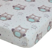 Little Owls Duck Egg Nursery Pair of Cot Bed Fitted Sheets Duck Egg Blue