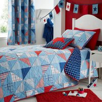 Cool Patchwork Blue Bedspread Blue & Red