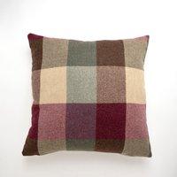 Large Heritage Check Plum Cushion Pink / White