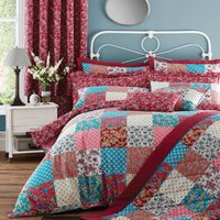 Ava Patchwork Red Reversible Duvet Cover and Pillowcase Set Blue / Red