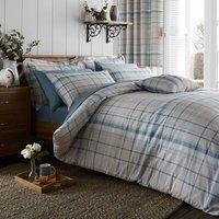Check Duck Egg Reversible Duvet Cover and Pillowcase Set Duck Egg Blue