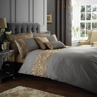 Grayson Embroidered Pewter Duvet Cover Grey / Gold