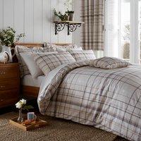 Check Natural Reversible Duvet Cover and Pillowcase Set Light Brown / Natural