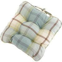 Highland Check Seat pad Duck Egg Blue