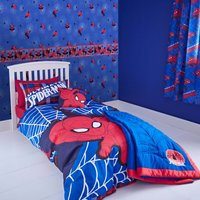 Marvel Spiderman Single Duvet Cover and Pillowcase Set Blue / Red